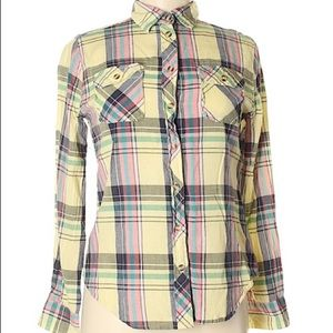 URBAN OUTFITTERS Yellow Plaid Button Down Shirt